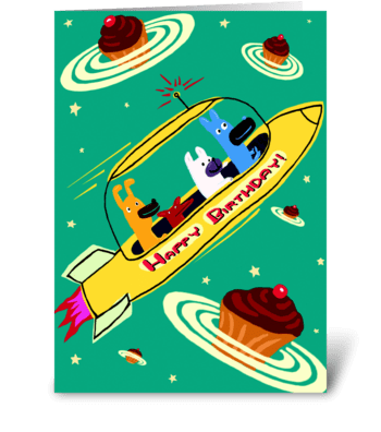Yellow Rocket Ship Birthday greeting card