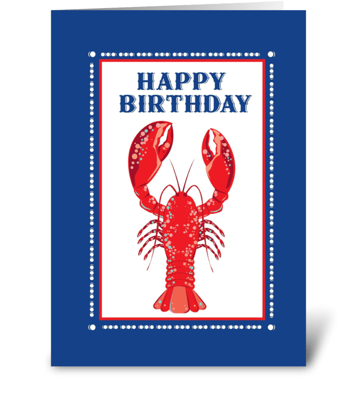 Lobster Happy Birthday greeting card