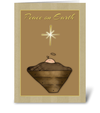 Baby Jesus, Manger, Peace on Earth greeting card