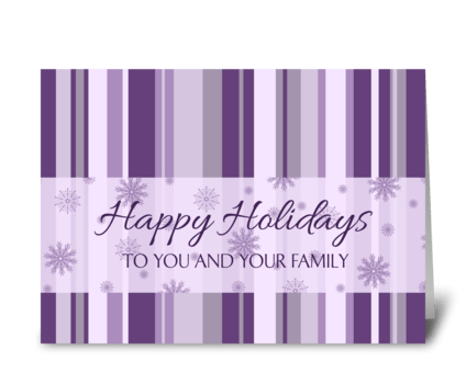 Happy Holiday Purple Stripes and Snow greeting card