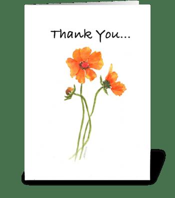 Orange Cosmos greeting card