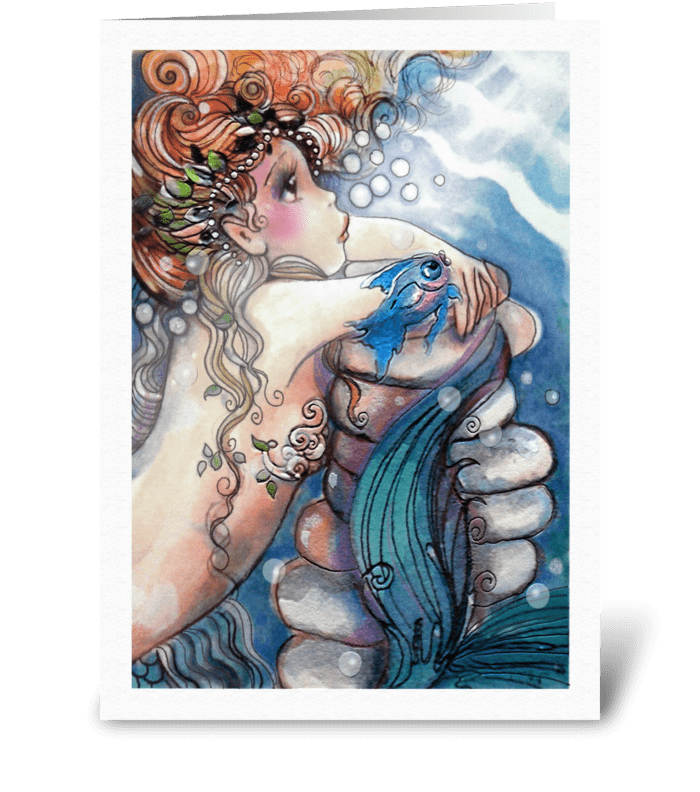MISS YOU MERMAID greeting card