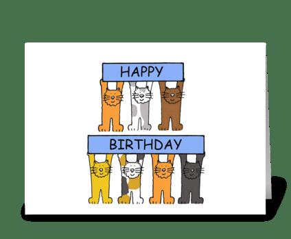 Happy Birthday Cartoon Cats. greeting card