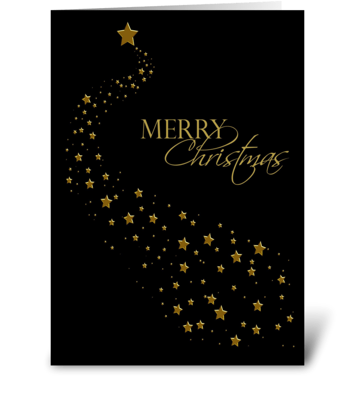 Gold Stars, Black, Christmas Greeting - Send this greeting card ...