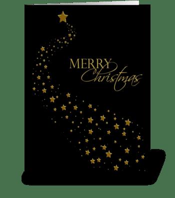 Gold Stars, Black, Christmas Greeting greeting card