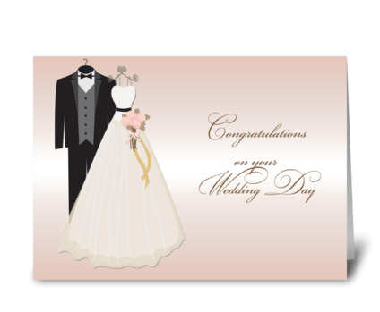 Wedding Gown, Tuxedo, Wedding Congrats greeting card