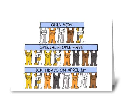 April 1st Birthday fun cats. greeting card