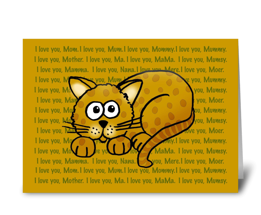 Mother's Day Cartoon Cat greeting card