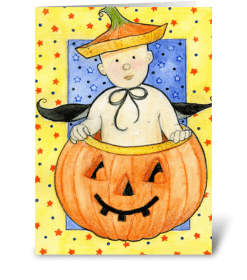 Pumpkin Baby First Halloween greeting card