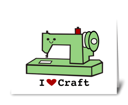 I Love Craft- Retro Sewing Machine greeting card