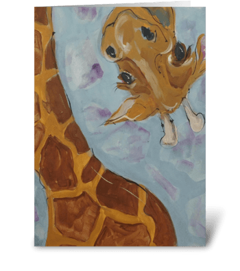 Tall Giraffe Birthday greeting card