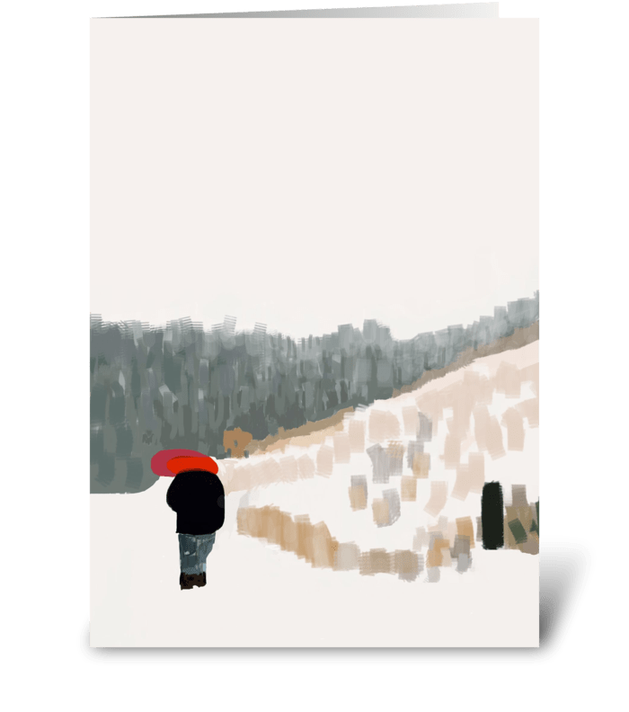 Red Umbrella in the Snow greeting card