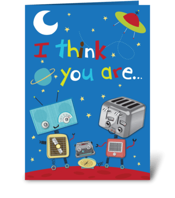 Out of this World Retro Robot greeting card
