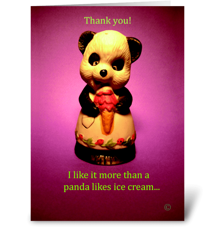 Ice Cream Panda greeting card