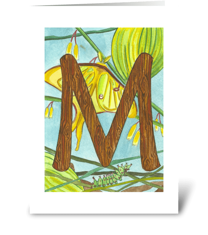 M for Moonmoth greeting card