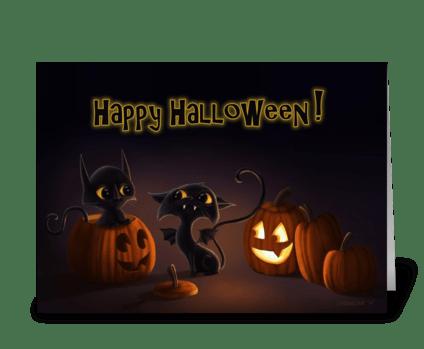 Bat Cat Halloween! greeting card