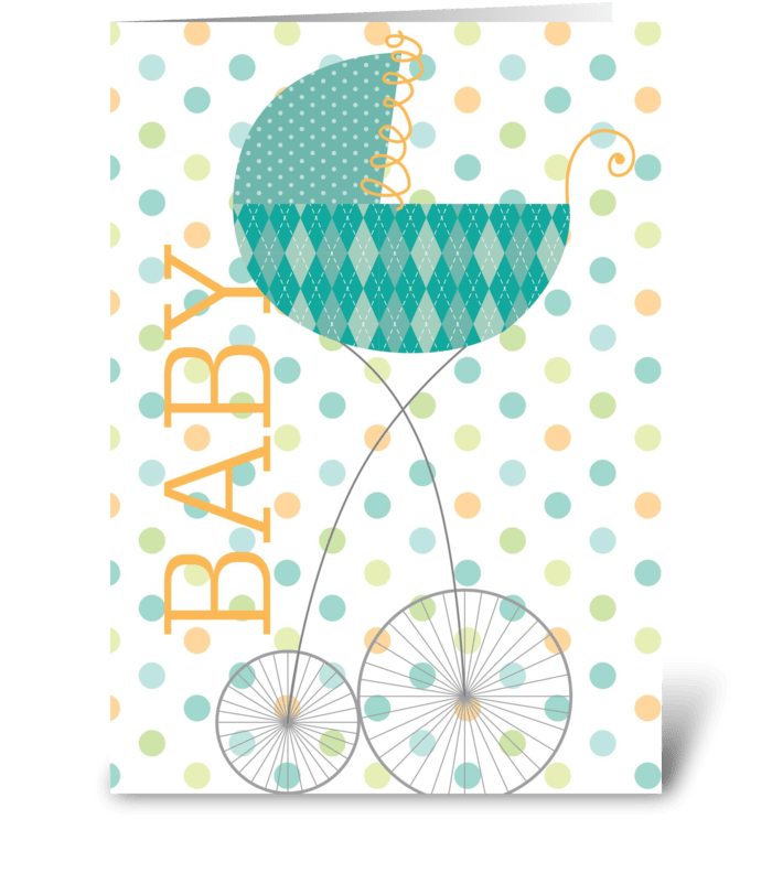 Baby Carriage Green greeting card
