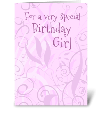 Birthday Girl Pink Purple Flowers greeting card