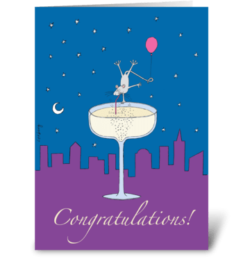 Champagne Mouse Congrats greeting card