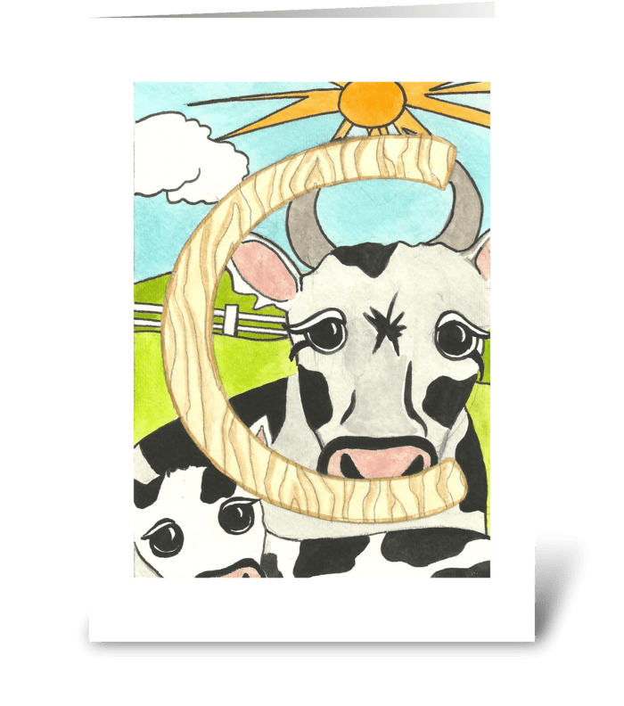 C for Cow greeting card
