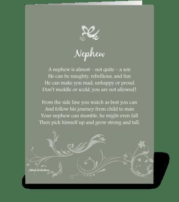 Poetry Nephew greeting card