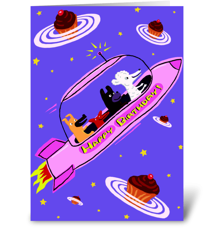 Pink Rocket Ship Birthday greeting card