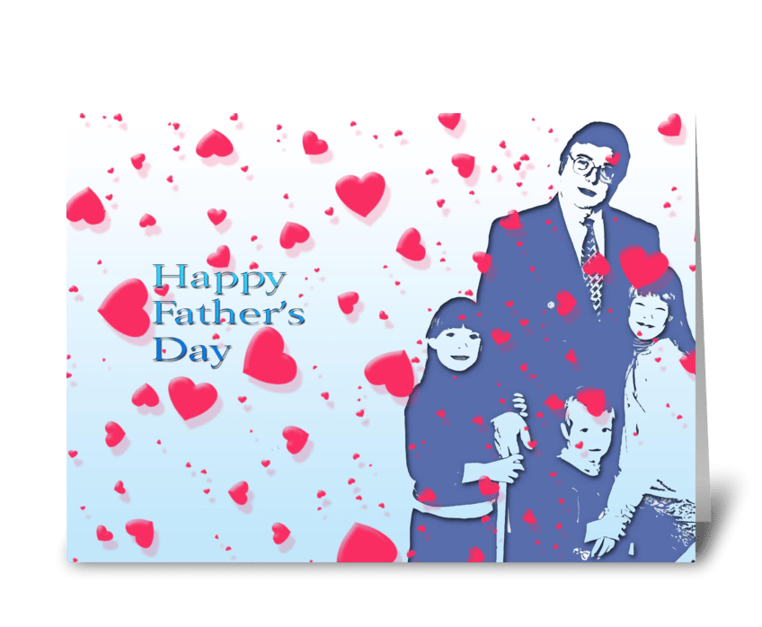 Father with loving children greeting card