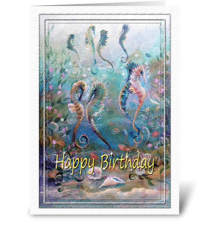 Happy Birthday, Sea Horse ART greeting card