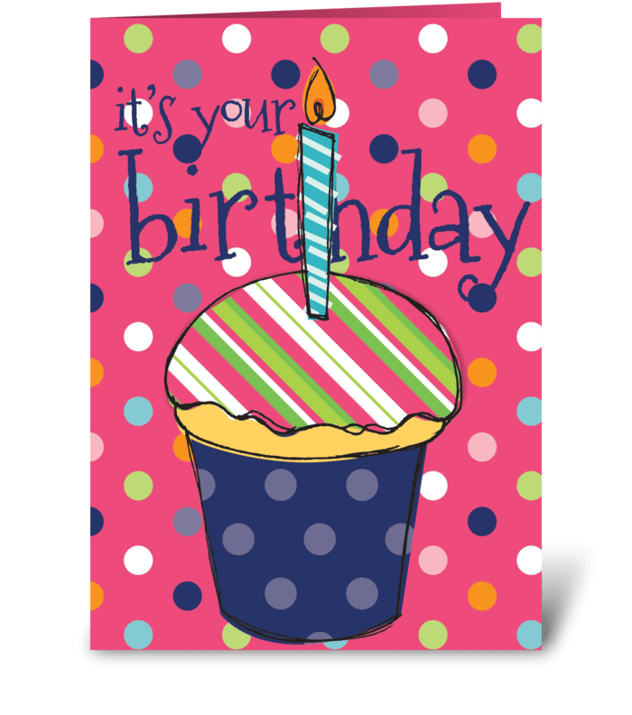 Pink Birthday Cupcake Send This Greeting Card Designed By The