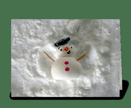 Snowman Snow Angel greeting card