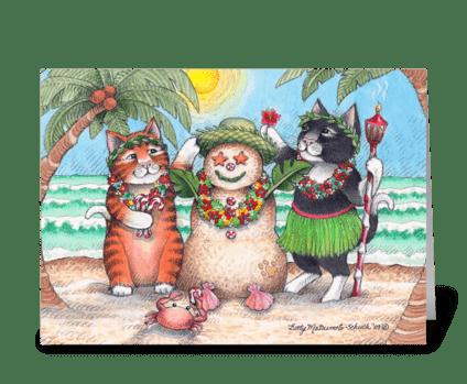 Tropical Christmas Holiday Cats #72 greeting card