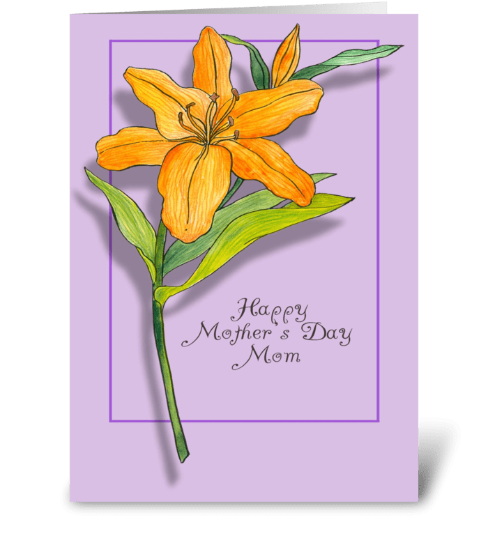 Mother's Day Orange Lily on Purple greeting card