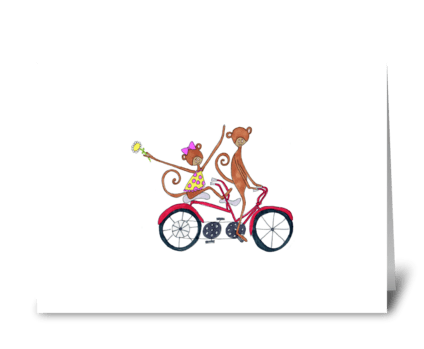 bicycle built for 2 greeting card