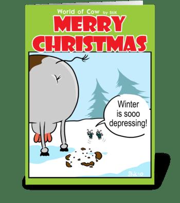 Depressing Winter Christmas card. greeting card