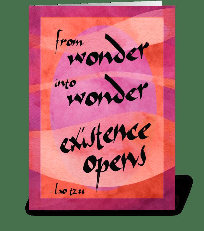 Lao Tzu Quote: Wonder greeting card