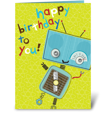Blue Robot Birthday greeting card