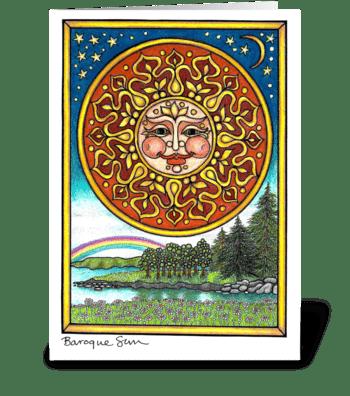 Baroque Sun greeting card