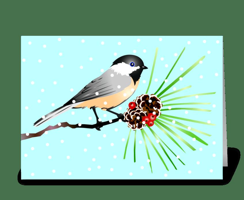 Little Chickadee Christmas Wish greeting card