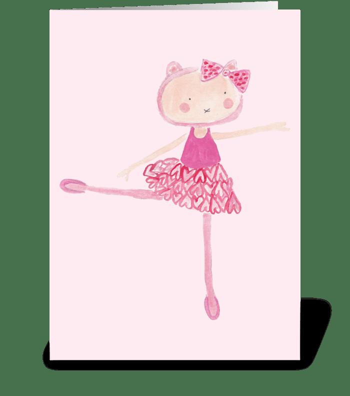 ballerina kitty greeting card