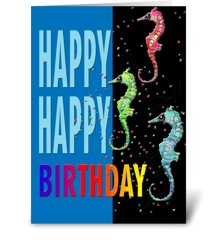 Sea Horses, Happy Birthday greeting card