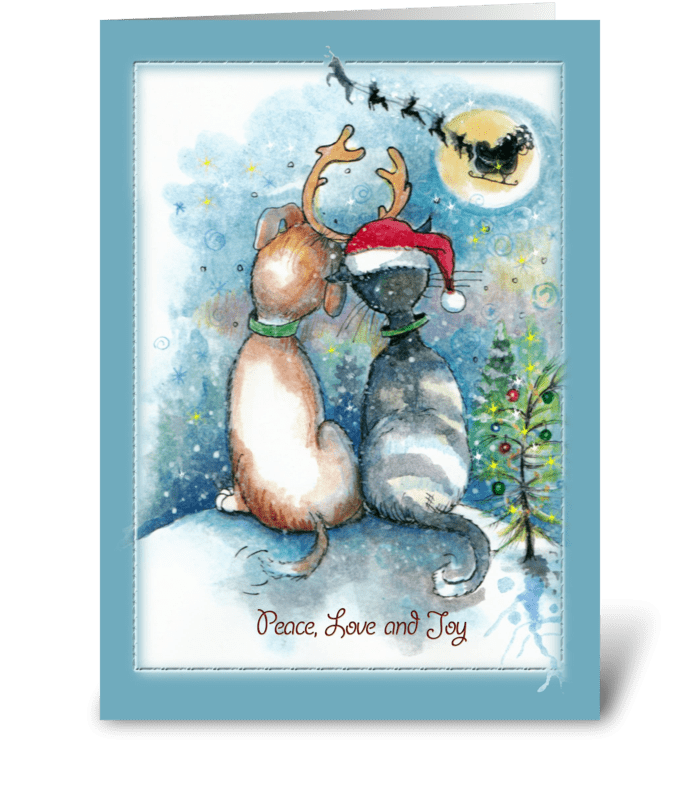 Dog and Cat Christmas Greetings greeting card