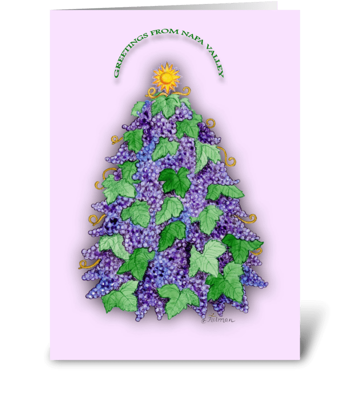 Napa Valley Grape Christmas Tree greeting card