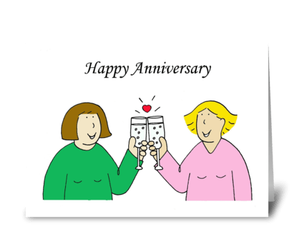 Happy Anniversary to lesbian partner. greeting card