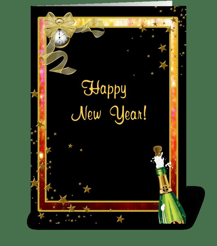 Happy New Year, Champagne, Clock, Stars greeting card