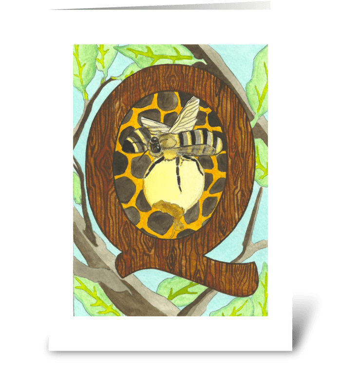 Q for Queen Bee greeting card