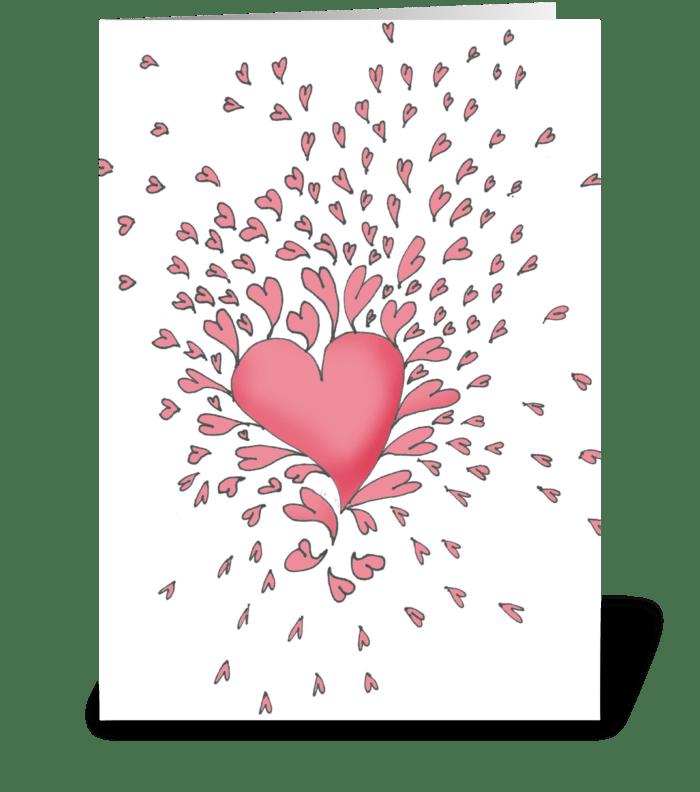 Heart bursting greeting card