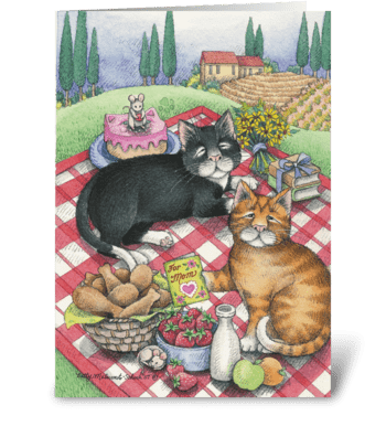 Picnic Mother's Day Cats #17 greeting card