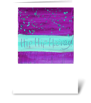 Hip Hip Hooray! - Turquoise on Magenta greeting card