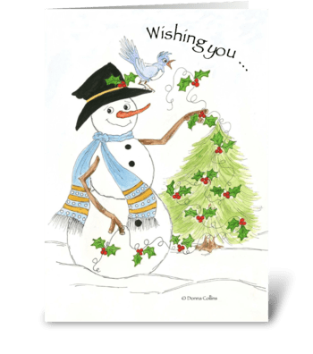 Christmas Snowman greeting card