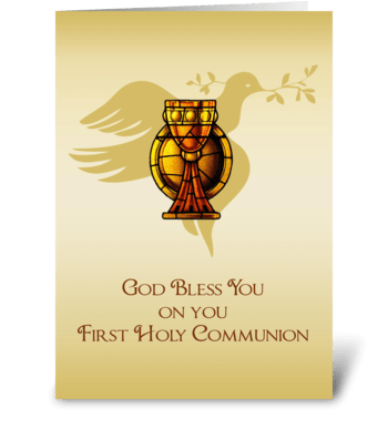 First Communion Chalice, Dove, Congratul greeting card
